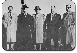 From Left to Right - W. Chester S. MacDonald, Dr Hubert B. McNeill, G. Keith Pickard, G. Lorne Monkley, and Henry W. Wedge